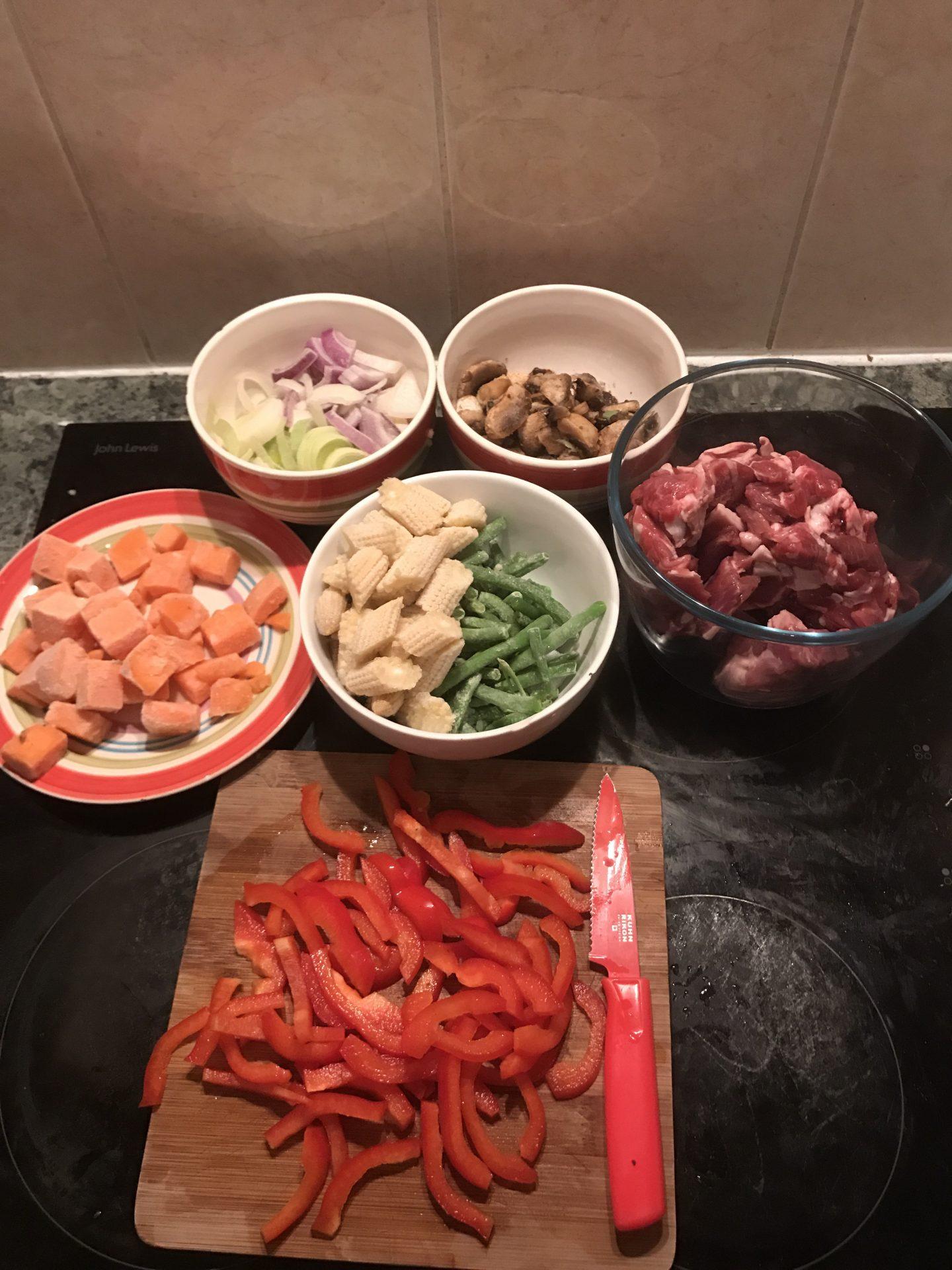 Minted Lamb Stir Fry - Ingedients