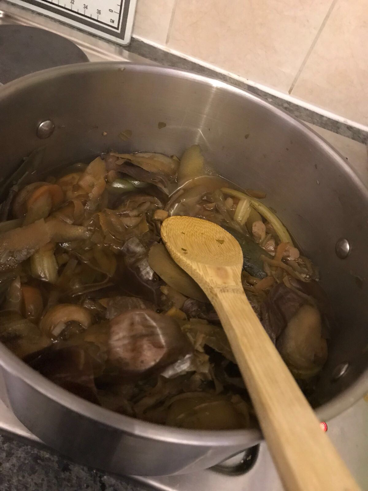 Homemade Vegetable Stock ~ Frugal Foods - boiling the stock